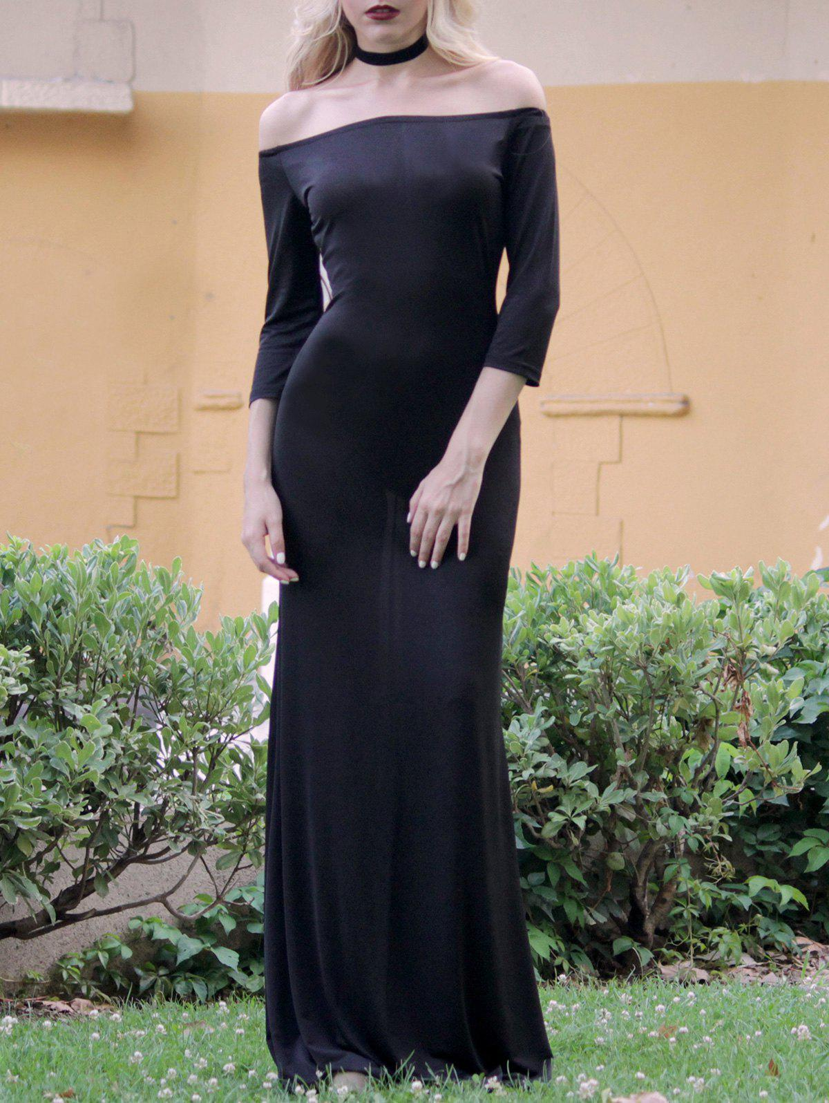 Stylish 3/4 Sleeve Off-The-Shoulder Pure Color Women's Maxi Dress - BLACK S