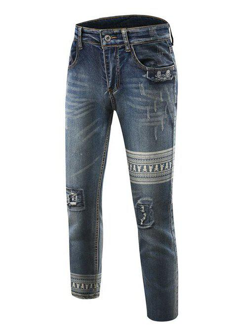Chic Stripe Print Slim Fit Mid-Wash Destroyed Jeans For Men - DENIM BLUE 33