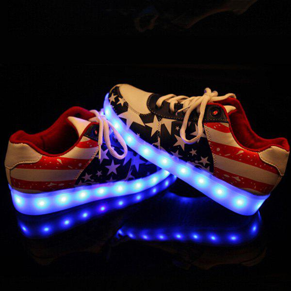 Trendy Striped and Lights Up Led Luminous Design Women's Athletic Shoes