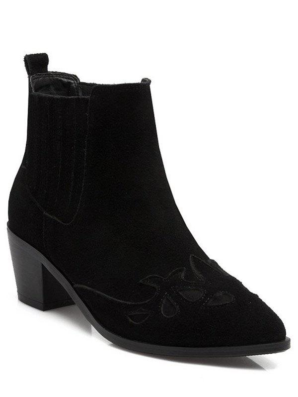 Trendy Engraving and Pointed Toe Design Women's Ankle Boots - BLACK 38