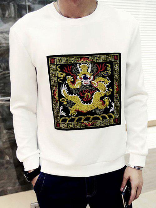 Round Neck Dragon Embroidered Long Sleeve Men's Sweatshirt - WHITE M