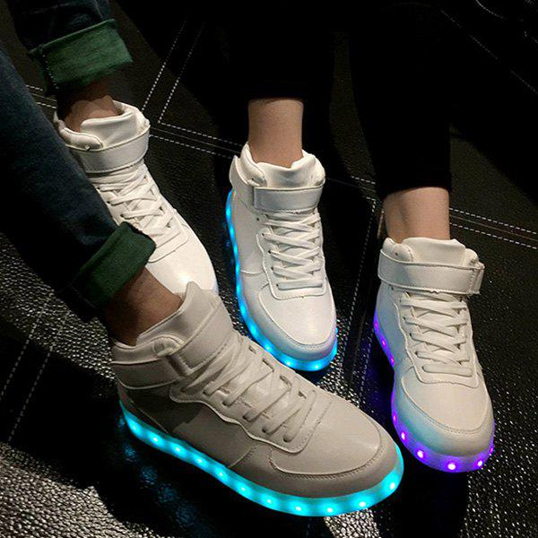 Chic Lights Up Led Luminous and Tie Up Design Women's Athletic Shoes - WHITE 43