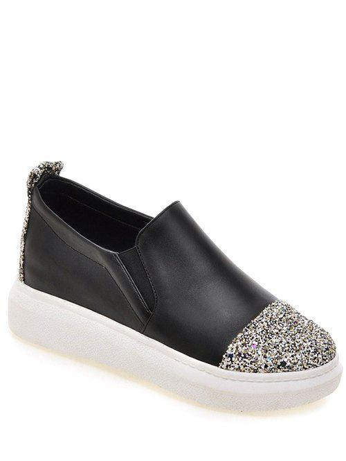 Fashionable Sequins and Slip-On Design Women's Platform Shoes - BLACK 39