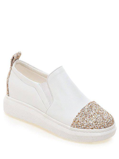 Fashionable Sequins and Slip-On Design Women's Platform Shoes - WHITE 38