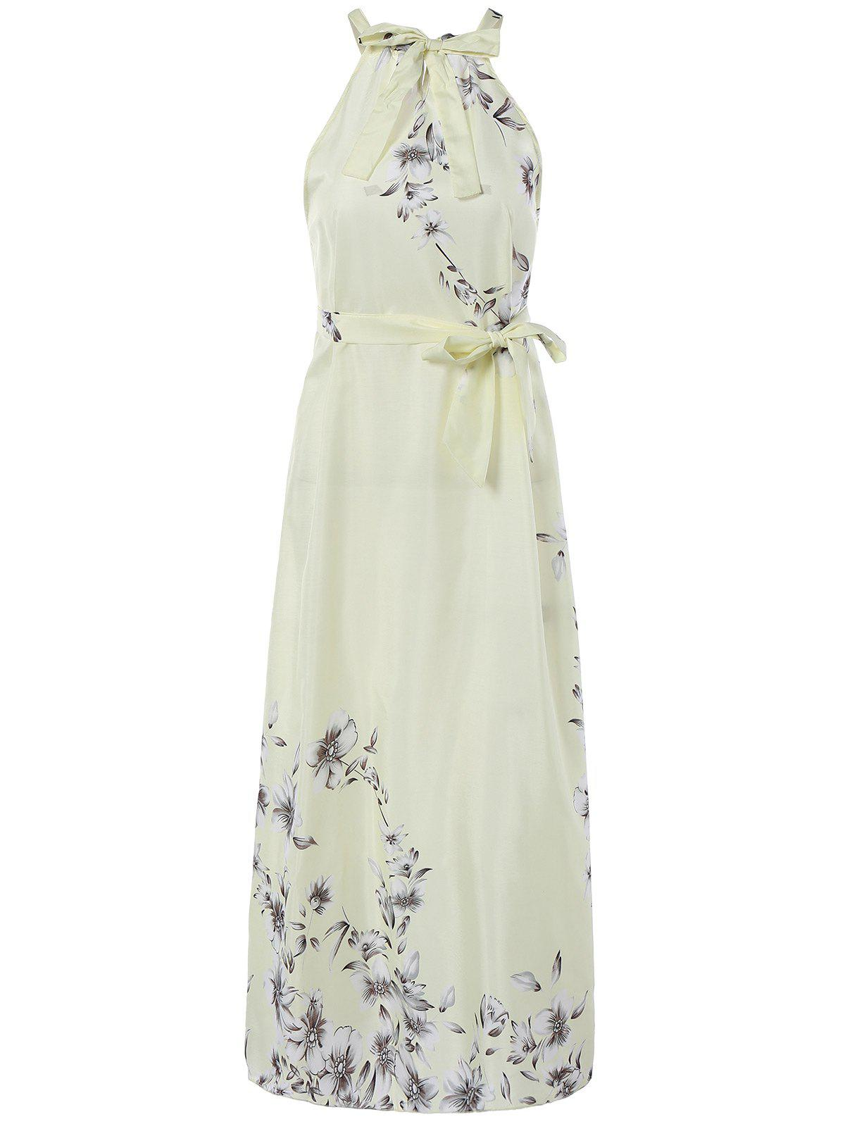 Sweet Sleeveless Floral Tied Dress For Women - LIGHT YELLOW 2XL