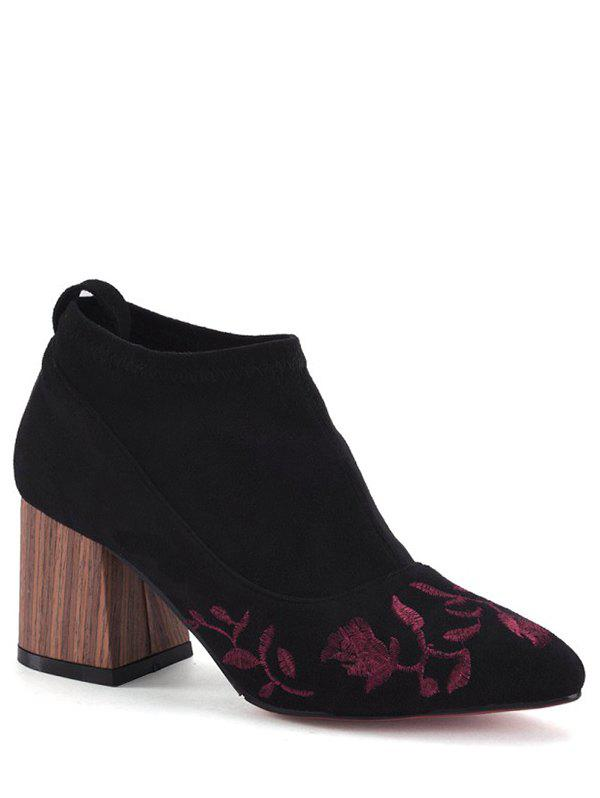 Elegant Embroidery and Chunky Heel Design Women's Ankle Boots - BLACK 39