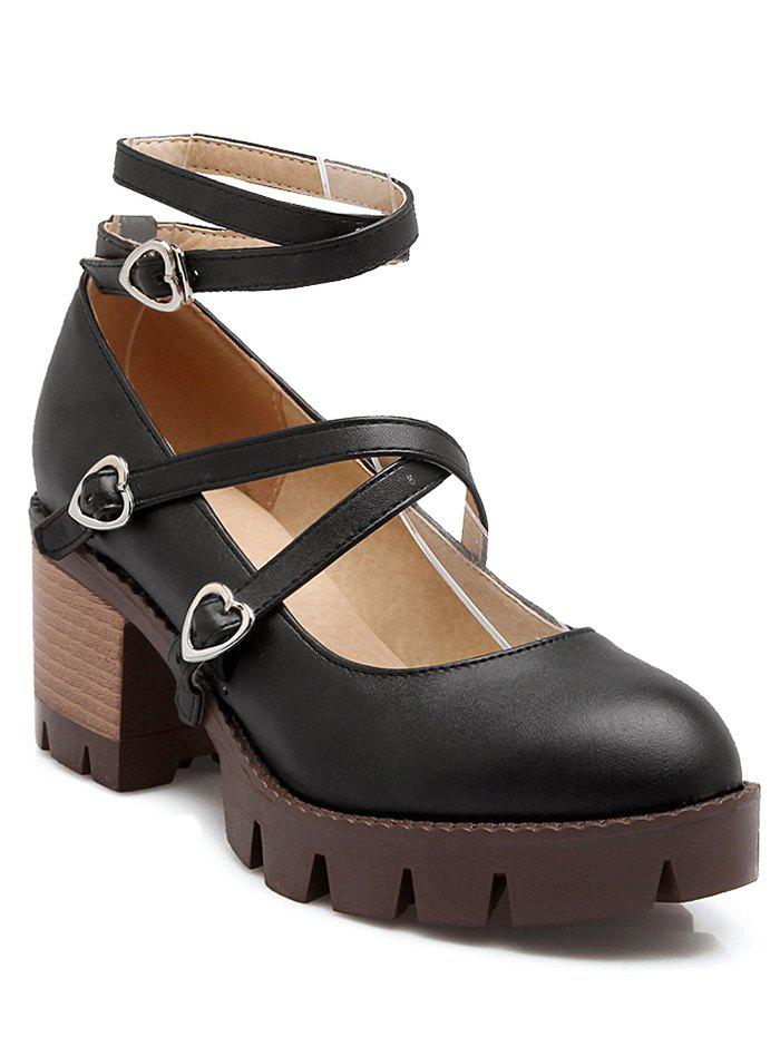 Vintage Cross-Strap and Chunky Heel Design Women's Pumps - BLACK 39