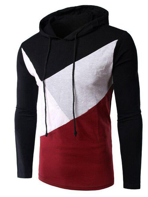 Casual Color Block Spliced Long Sleeve Hoodie For Men - BLACK L