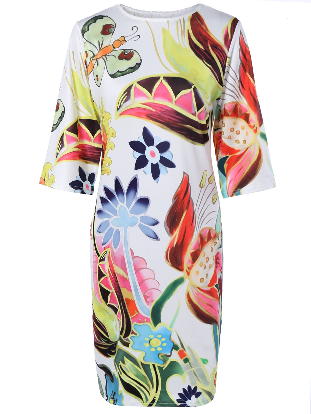 Colorized Half Sleeve Floral Dress For Women - COLORMIX 2XL