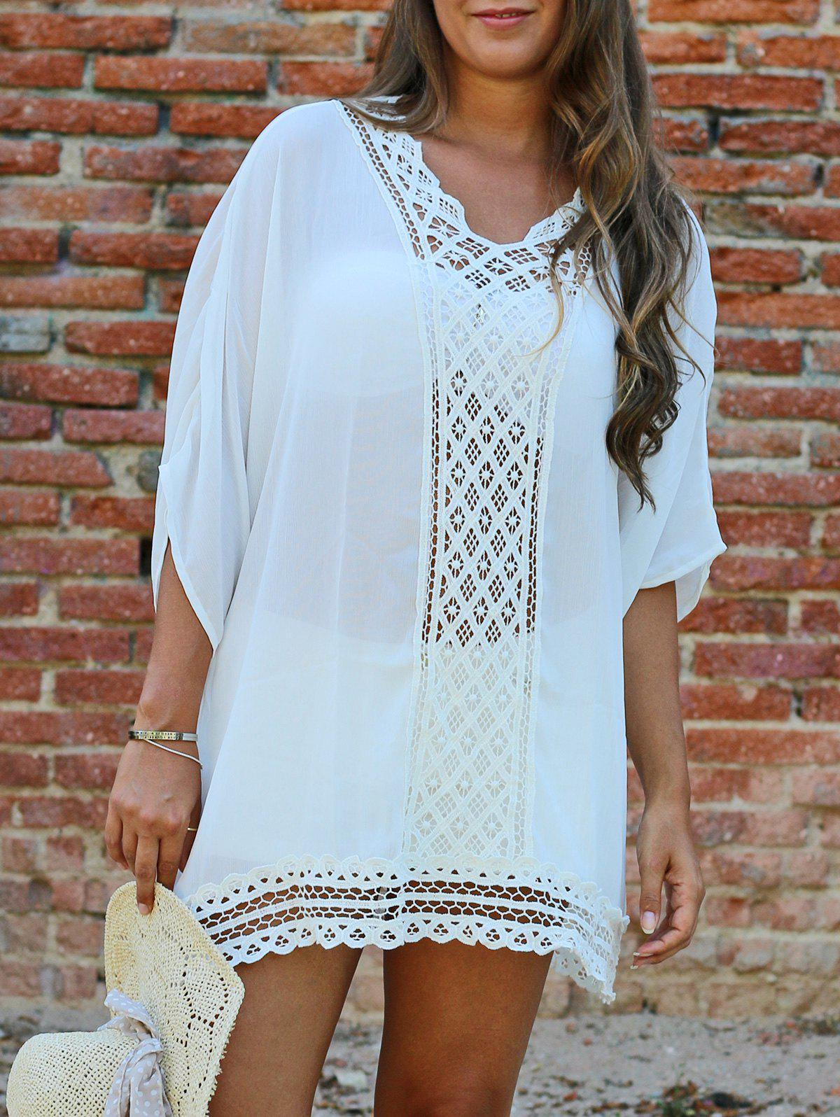 Brief Women's V Neck 1/2 Sleeve Openwork Cover-Up