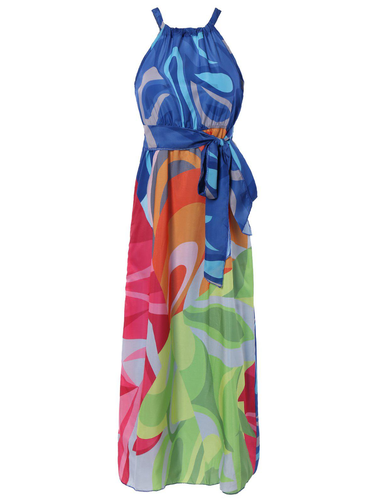 Stunning Sleeveless Hit Color Tied Dress For Women - BLUE 2XL