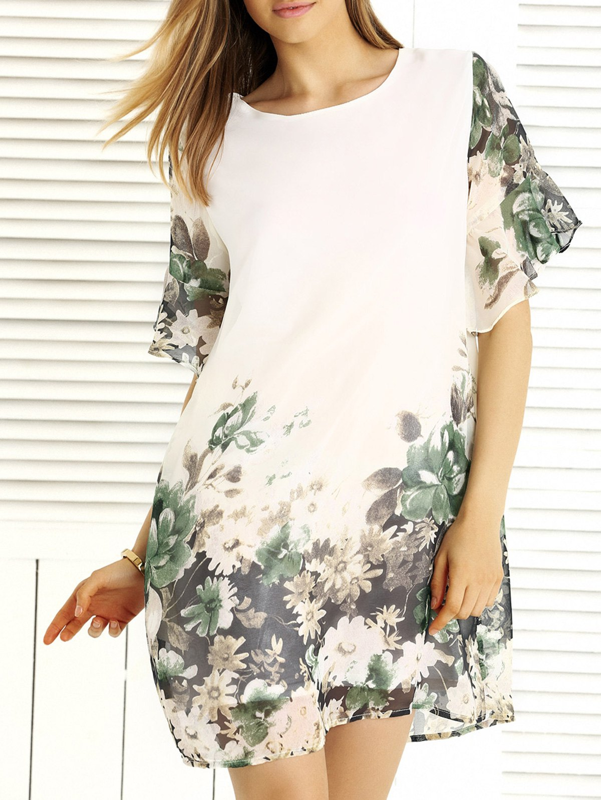 Charming Floral Print Loose-Fitting Women's Dress - 3XL WHITE