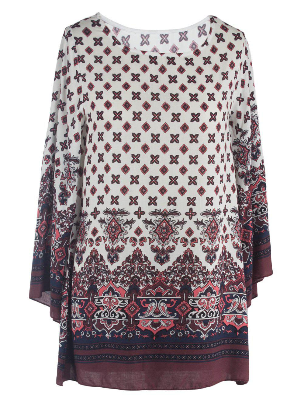 Ornate Printed Shift Dress With Sleeves - WHITE 2XL