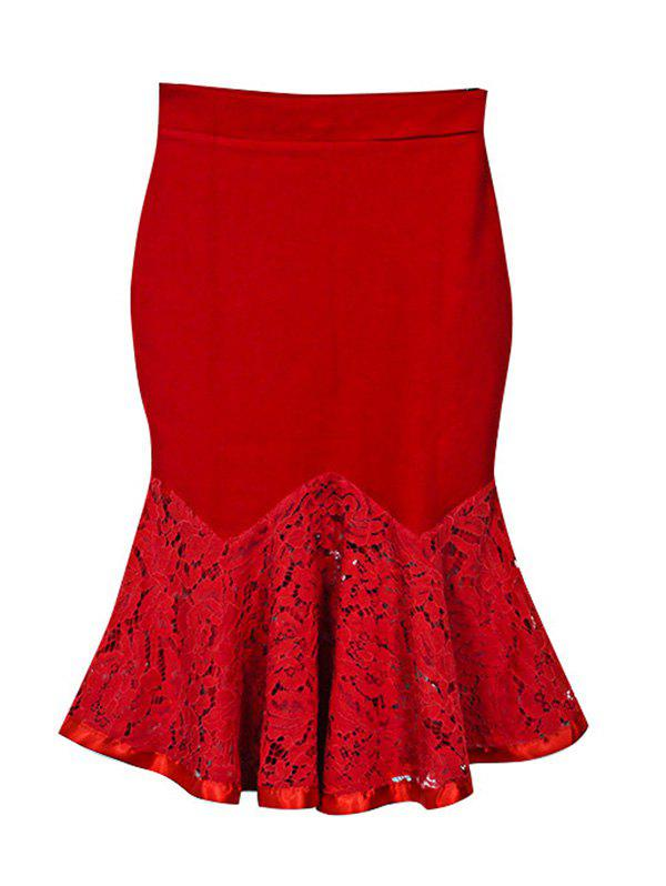 Charming Lace Spliced Flounce Women's Mermaid Skirt - RED 5XL