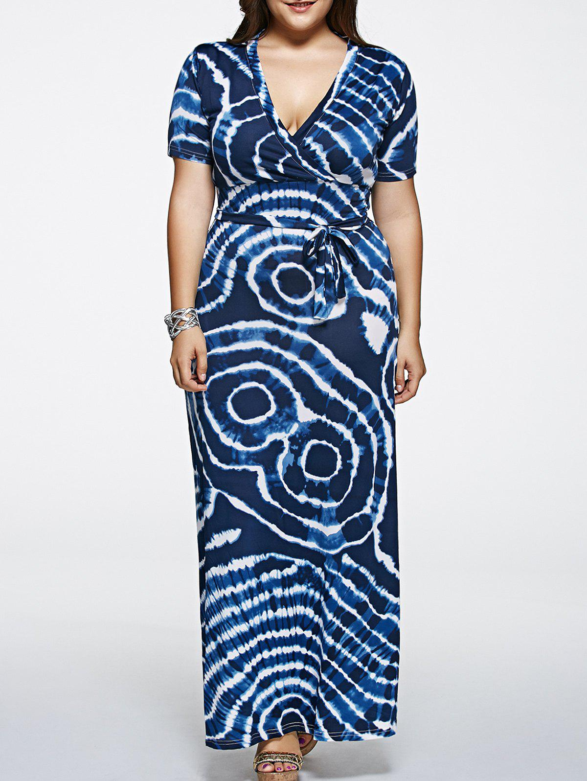 Short Sleeve Plus Size Tie-Dyed Maxi Dress - PURPLISH BLUE 4XL