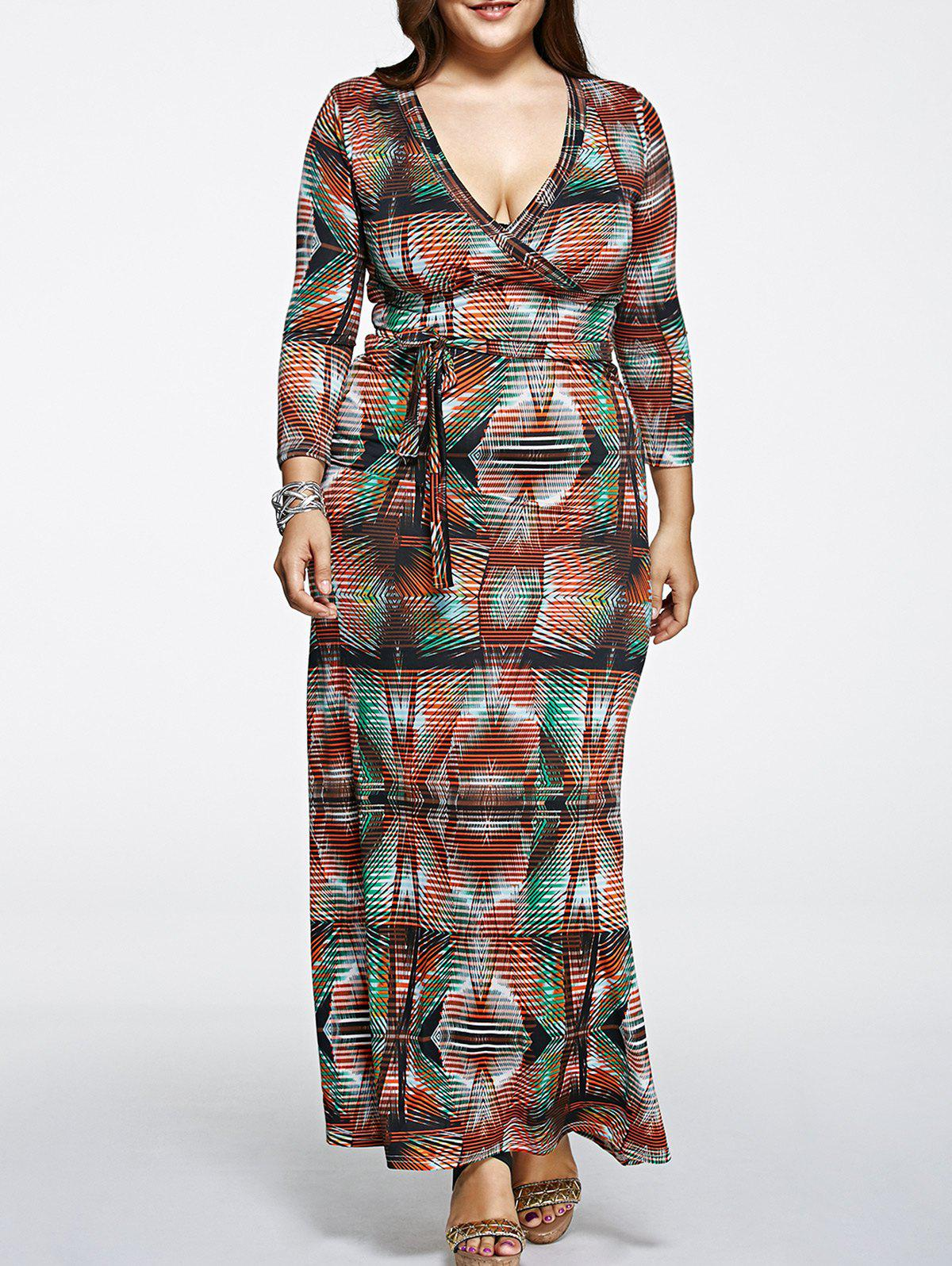 Oversized High Waist Abstract PrintDress - COLORMIX 5XL