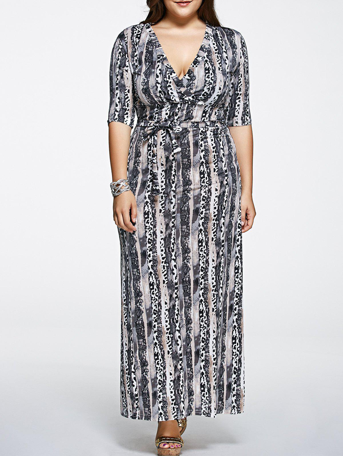 Plus Size Printed Maxi Dress with Sleeves - BLACK 5XL