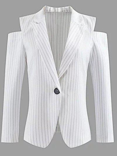 Lapel One-Button Striped Cut Out Blazer épaule froid - Blanc L