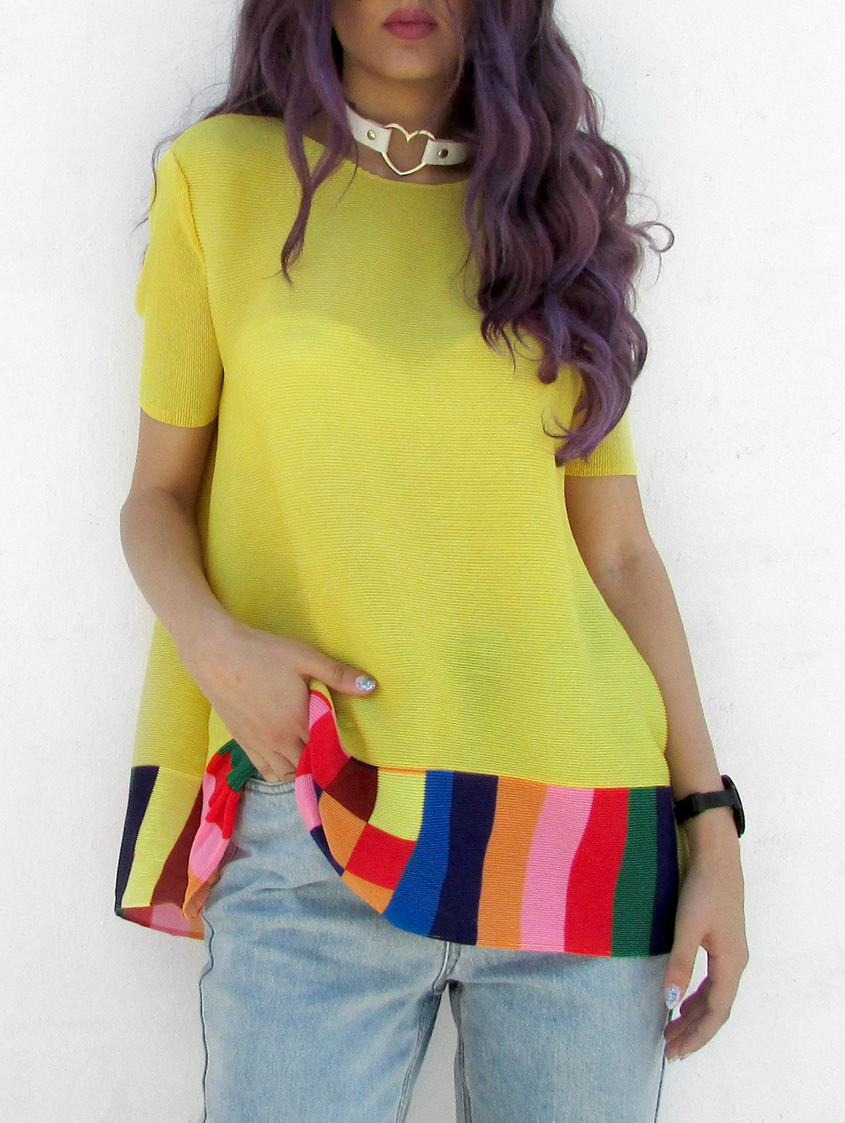 Ethnic Women's Jewel Neck Short Sleeves Color Block Blouse - YELLOW ONE SIZE(FIT SIZE XS TO M)