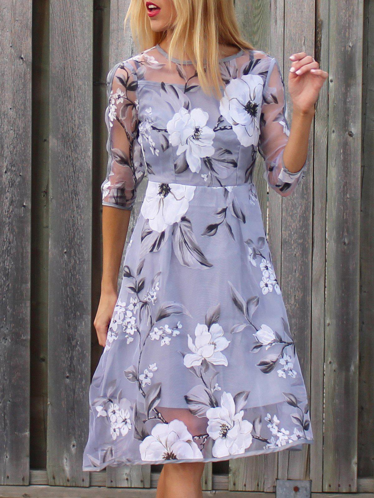 Stylish 3/4 Sleeve Round Neck Floral Print See-Through Women's Dress - LIGHT GRAY 2XL