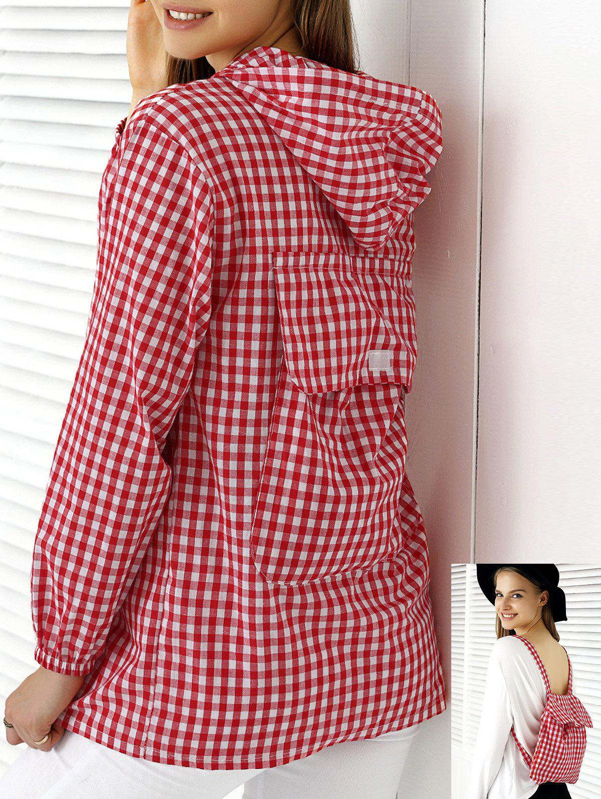 Chic Hooded Plaid Buttoned Multifunction Women's Blouse - CHECKED ONE SIZE