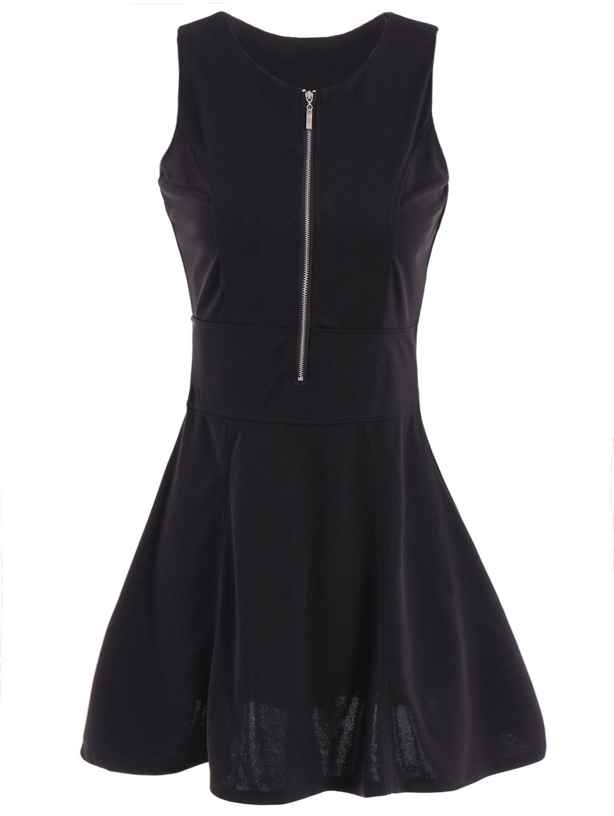 Elegant Women's Scoop Neck Black Sundress - BLACK M