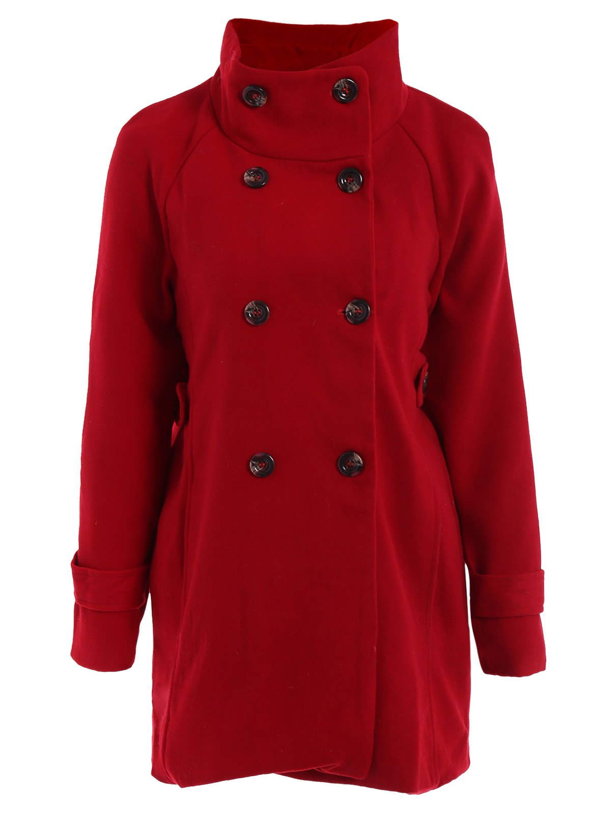 Stylish Women's Turn-Down Collar Long Sleeve Red Worsted Coat - S RED