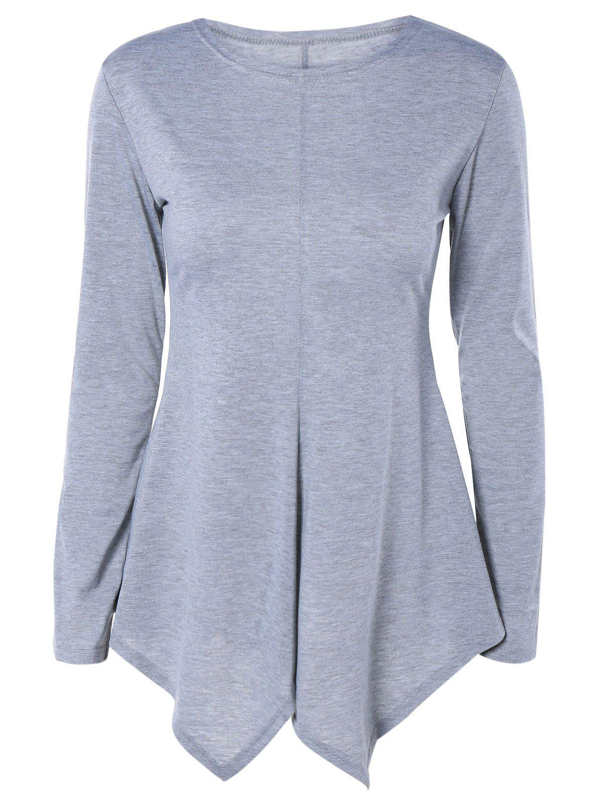 Sweet Pure Color Long Sleeve Asymmetric Tee - LIGHT GRAY XL