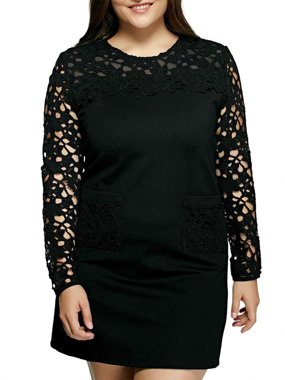 Oversized Crochet Spliced Hollow Out Dress - BLACK 5XL