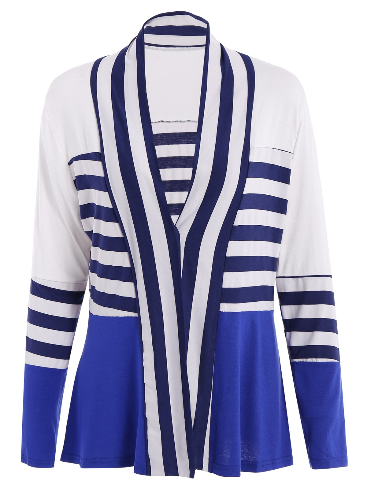 Casual Long Sleeve Collarless Striped Women's Thin Cardigan - BLUE/WHITE M