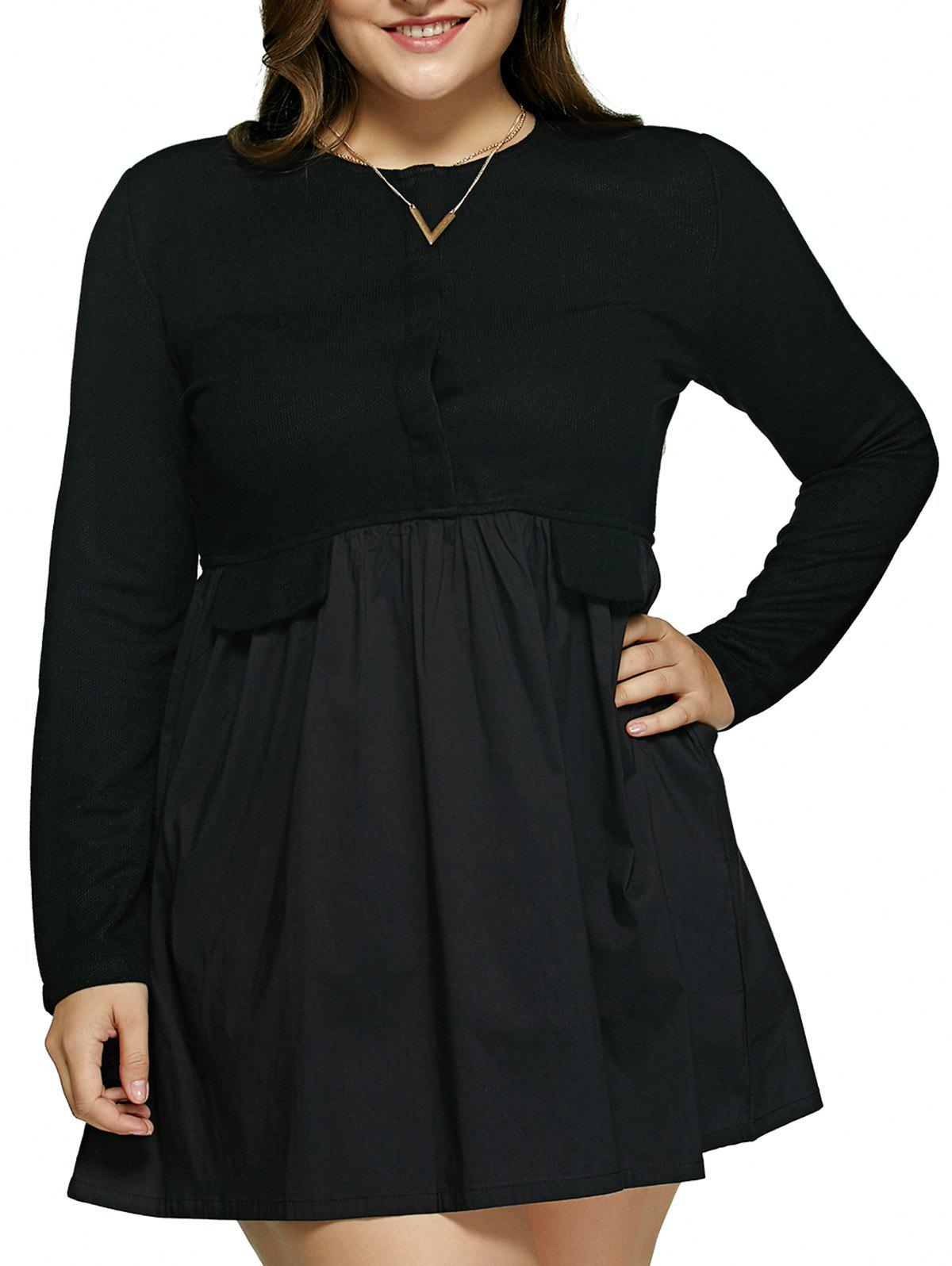 Plus Size Pure Color Patchwork Mini Dress - BLACK 5XL