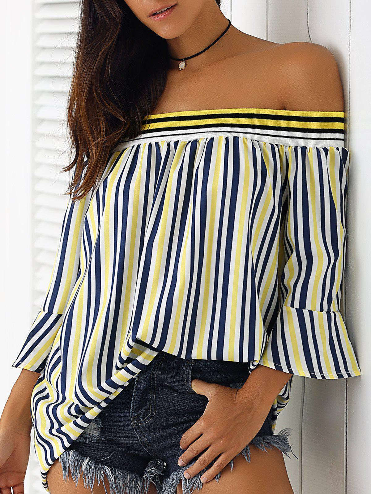 Simple Women's Off-The-Shoulder Bell Sleeves Striped Blouse - YELLOW XL