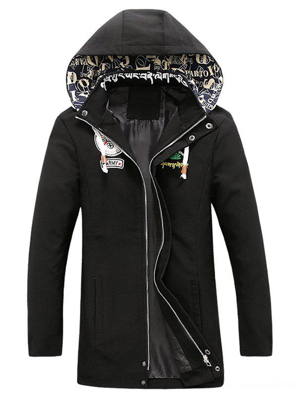 Patched Printed Snap Button Zipper Long Sleeve Men's Hooded Coat - BLACK 3XL