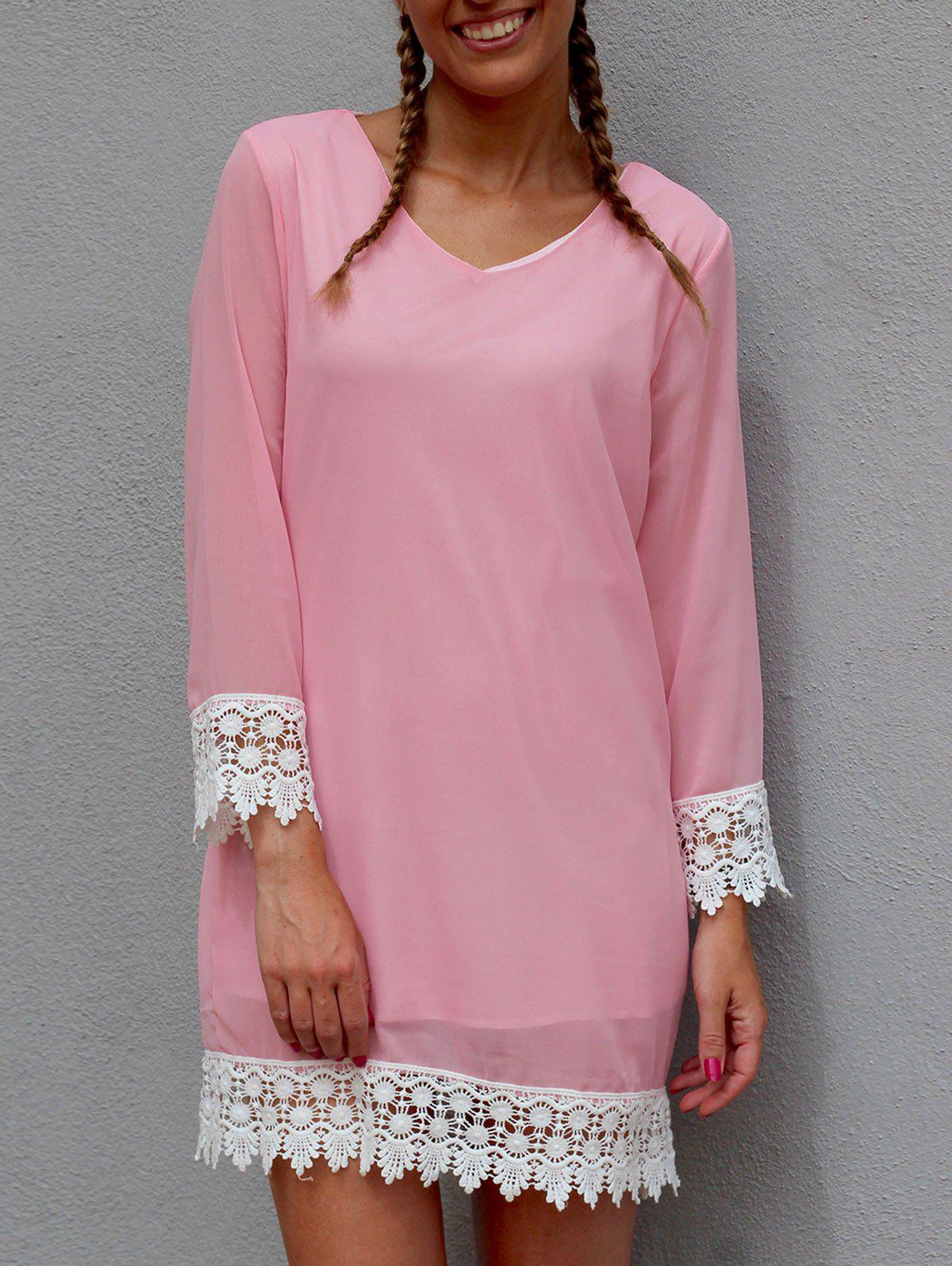Stylish Long Sleeve V-Neck Lace Spliced Chiffon Women's Dress - PINK S