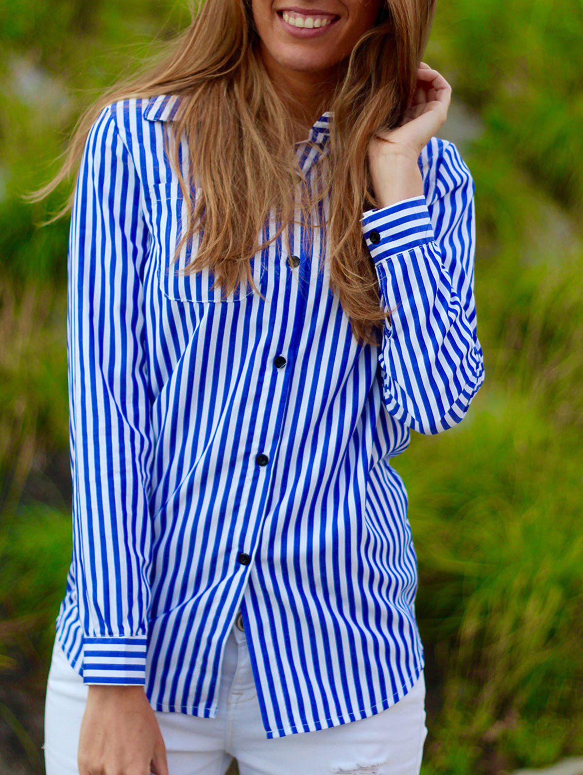 Casual Shirt Collar Stripes Long Sleeve Women's Blouse - BLUE/WHITE S