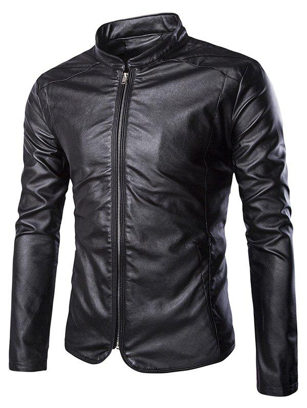 Brief Zip Up Stand Collar Long Sleeve Men's Faux Leather Jacket