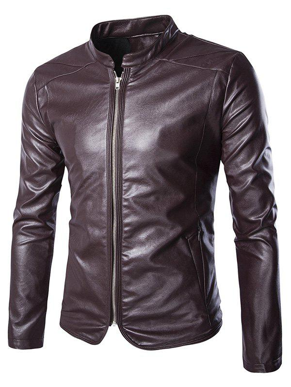 Brief Zip Up Stand Collar Long Sleeve Men's Faux Leather Jacket stand neck long sleeve zip up satin jacket