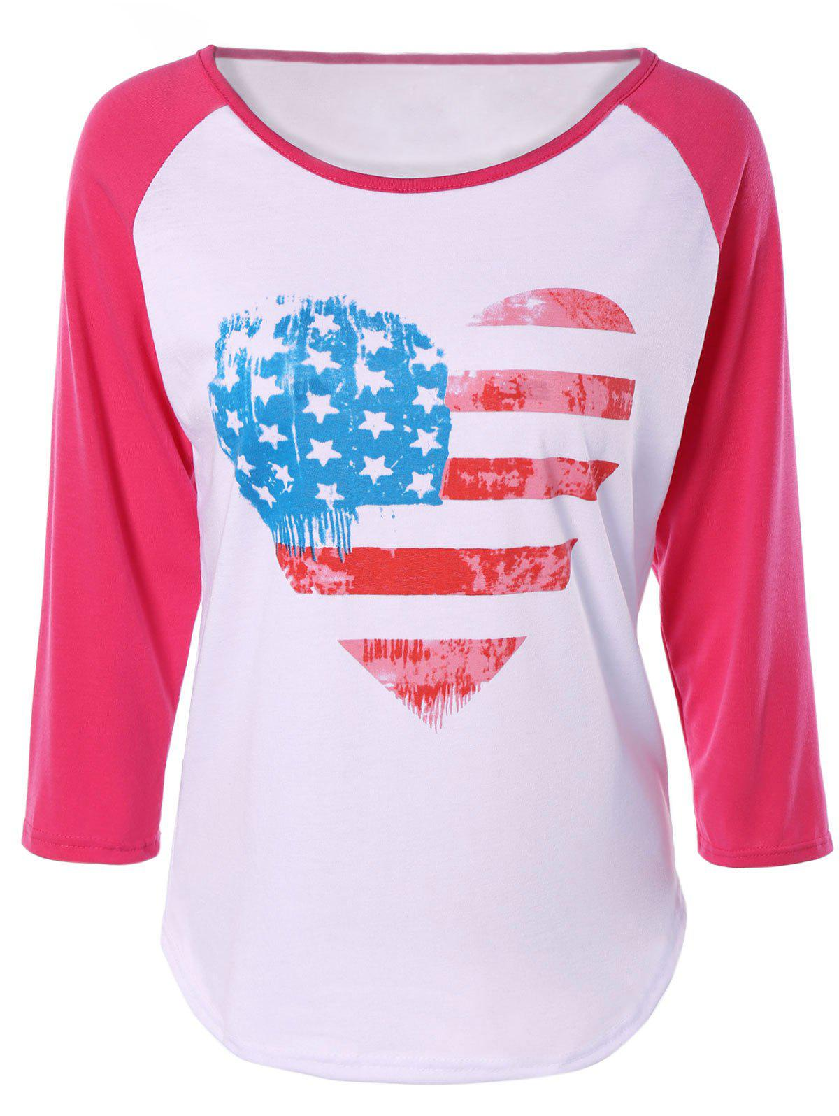Heart Print Raglan Sleeve T-Shirt - PINK/WHITE XL