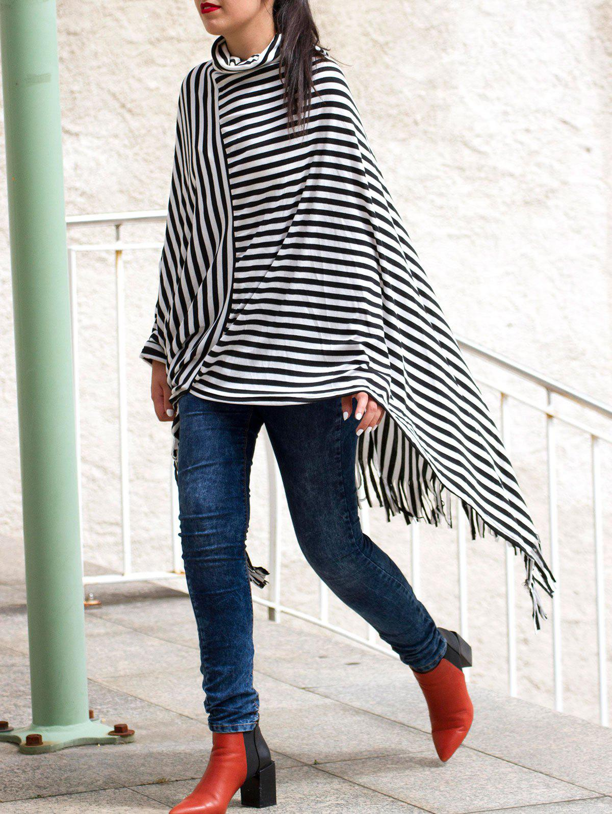 Stylish Cowl Neck 3/4 Sleeve Fringed Stripe Women's Poncho Blouse - WHITE/BLACK ONE SIZE(FIT SIZE XS TO M)