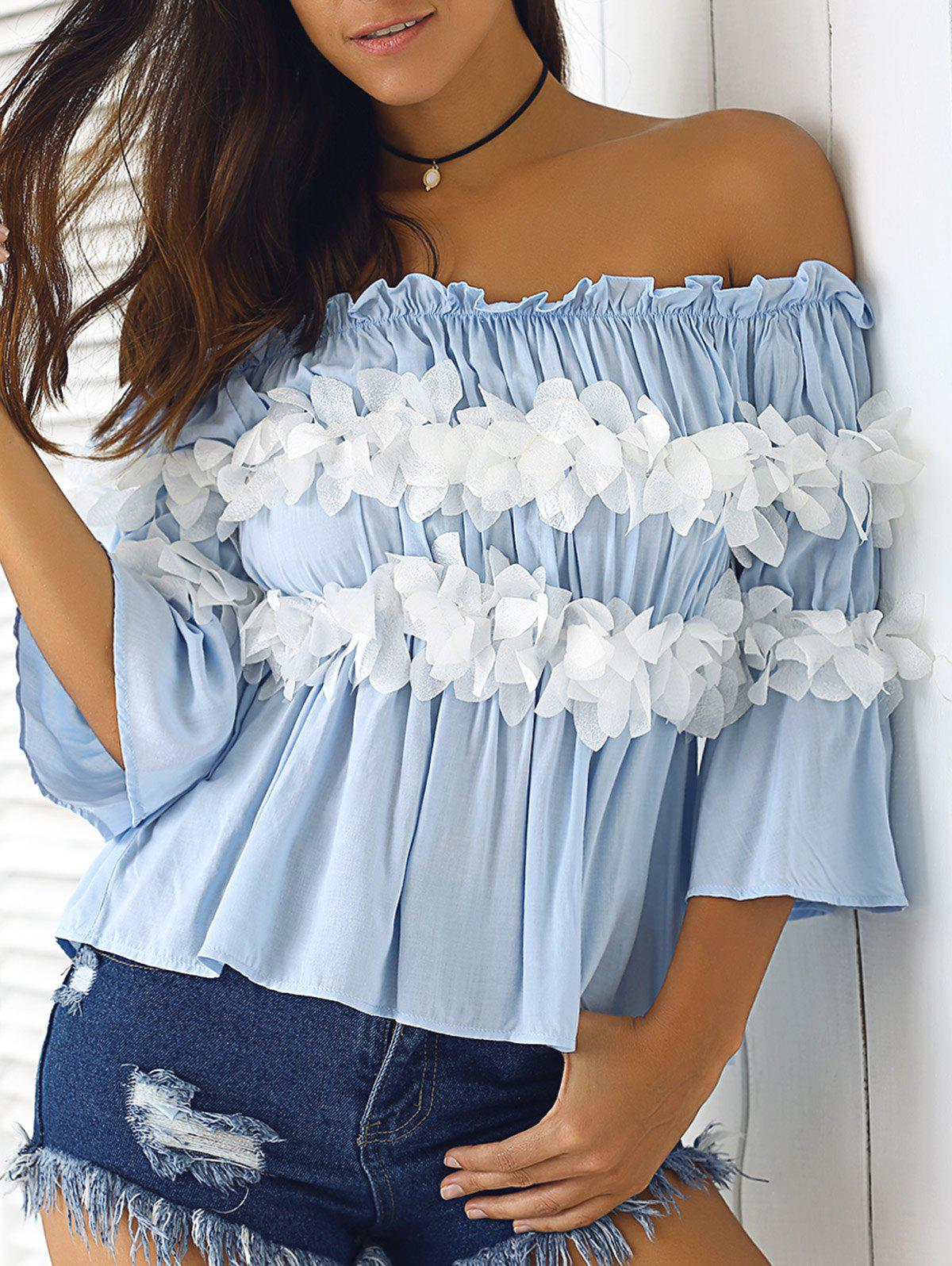 Graceful Women's  Off-The-Shoulder Flowers Bell Sleeves Blouse - LIGHT BLUE S