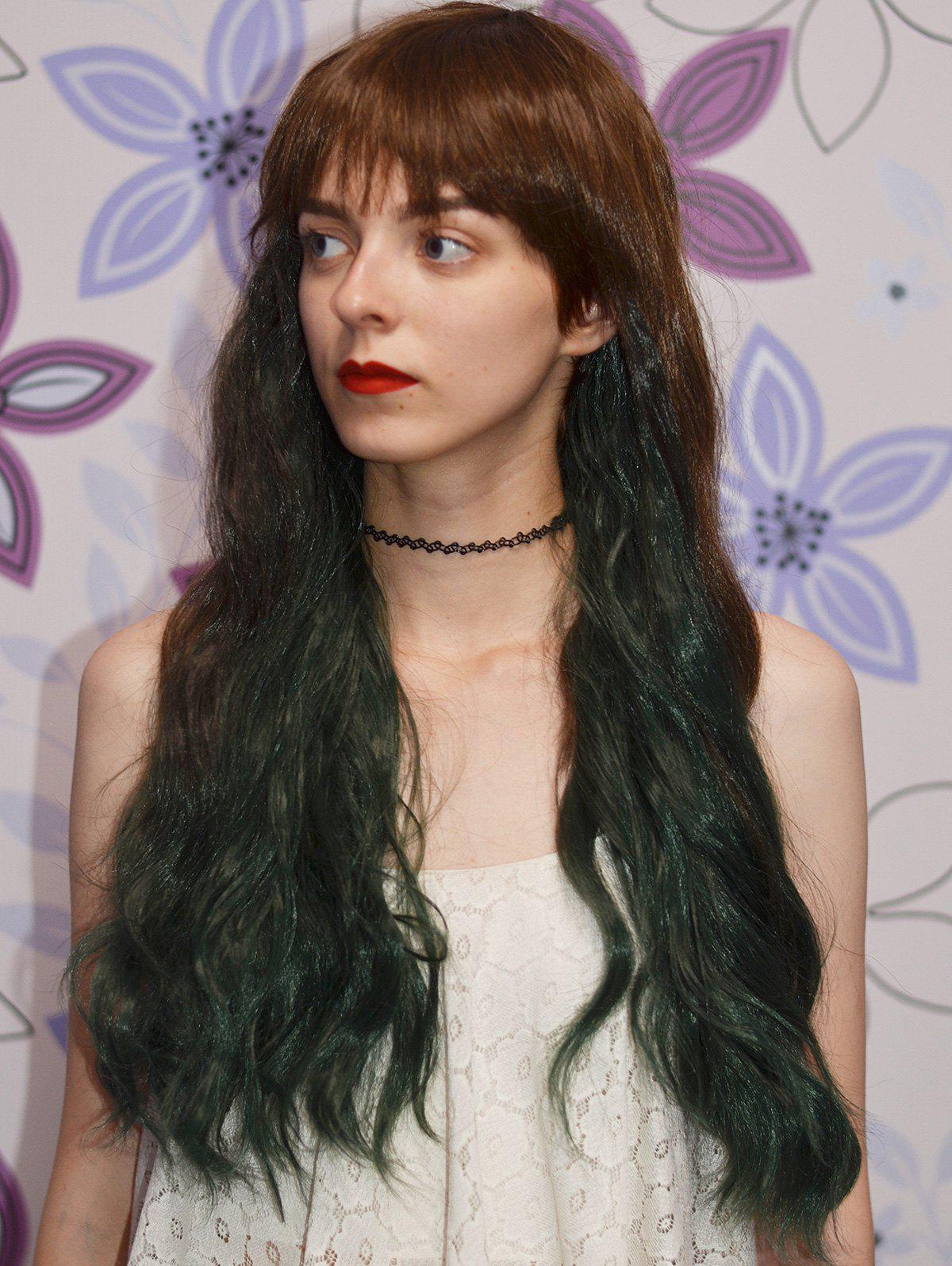 Heat Resistant Fiber Fluffy Wavy Long Full Bang Brown to Green Ombre Capless Wig For Women - GREEN / BROWN