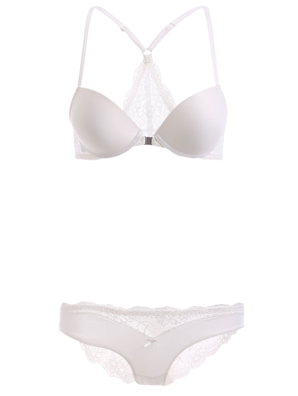 Front Closure Push Up Bra Set with Lace - WHITE 70B