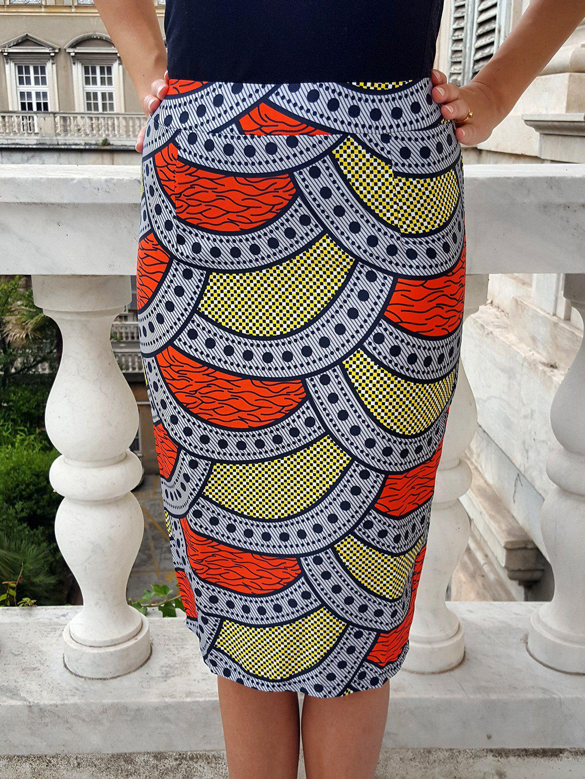 Ethnic High-Waisted Bodycon Printed Women's Skirt - COLORMIX S