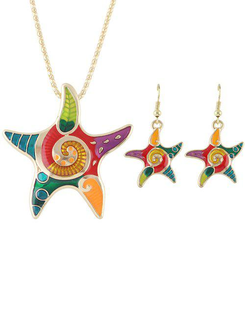 Starfish Necklace and Earrings Set - GOLDEN