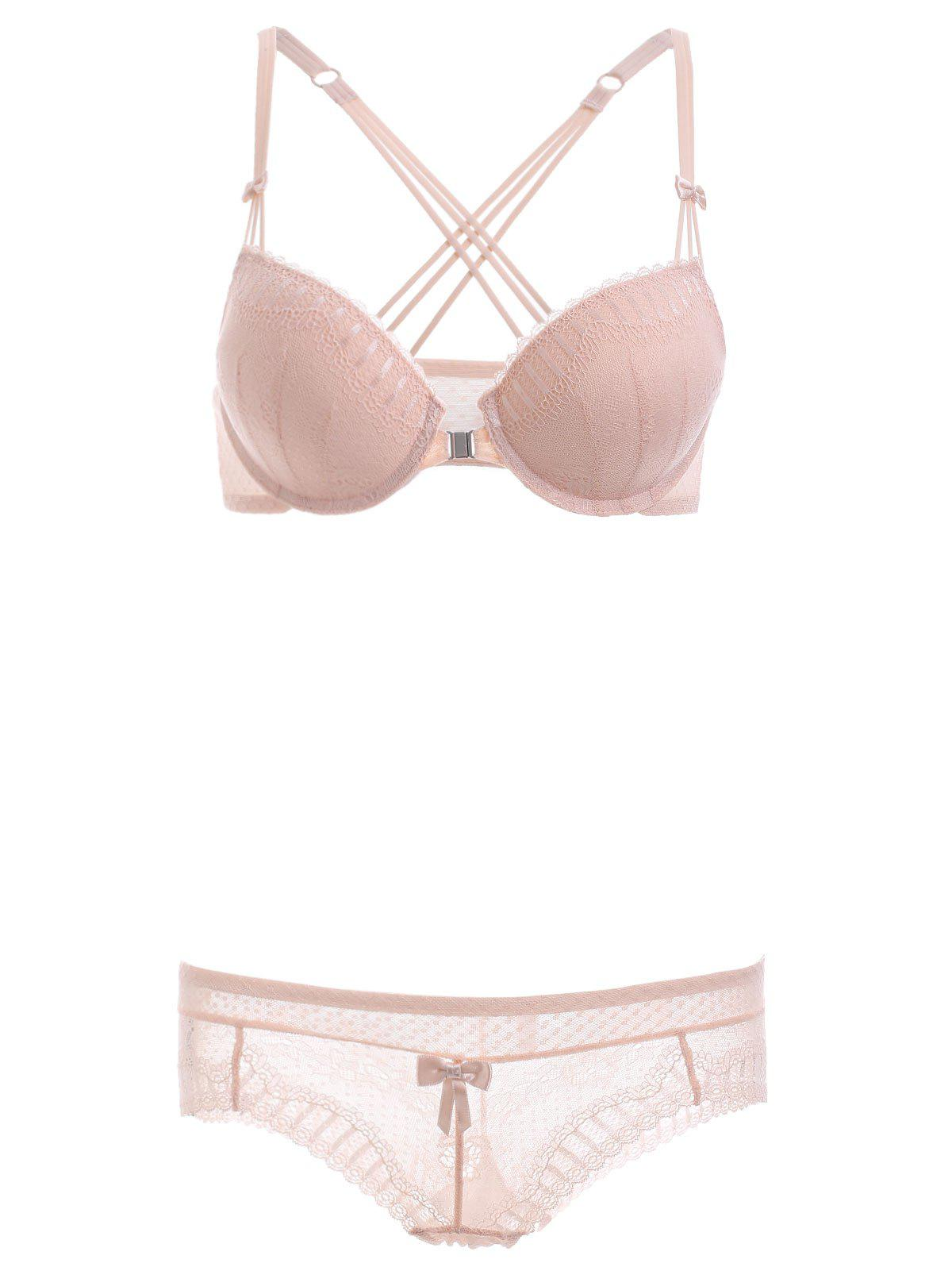 Front Closure Strappy Bra Set with Lace - NUDE 70C