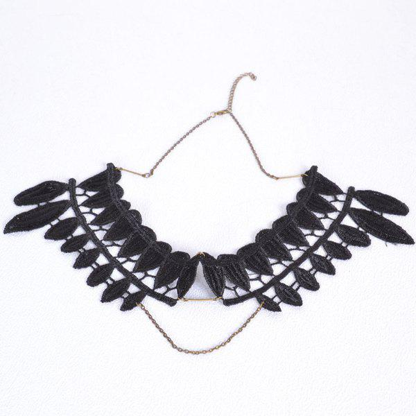 Leaf Fake Collar Necklace - BLACK