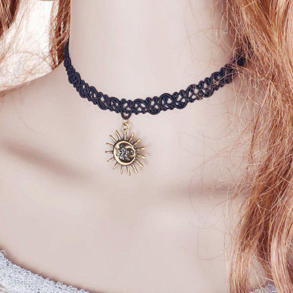Sun Moon Choker Necklace - BLACK
