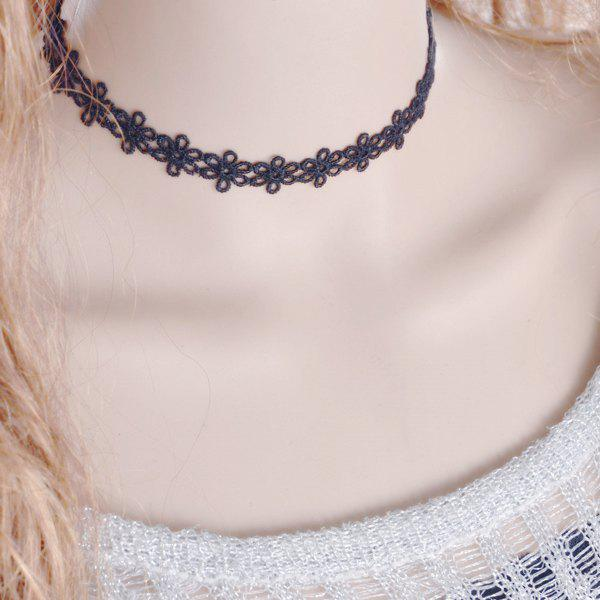 Flower Choker Necklace - BLACK