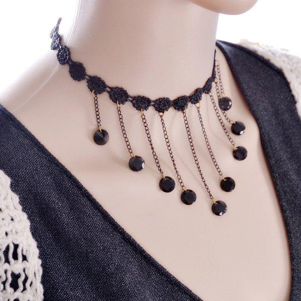 Flower Beads Choker - BLACK