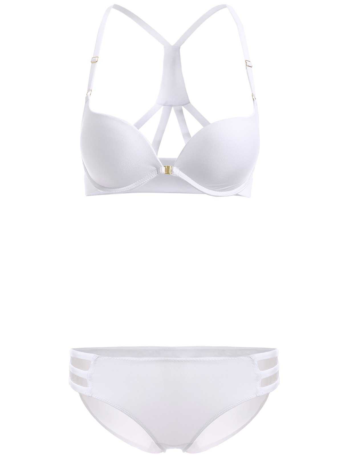 Brief Women's Front Closure Solid Color Push Up Bra Set - WHITE 70B